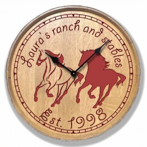 Carved Clock - Horses